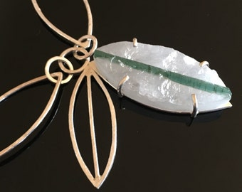 Tourmaline in Quartz statement necklace with handmade chain, sterling silver, green teal