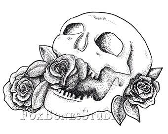 Rose Skull Tattoo Flash Illustration Print