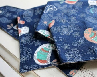 Baby Bib - Bandana Bib - Bibdana - Drool Bib - Baby Shower Gift - Navy Blue Birds - Southwest - Girl