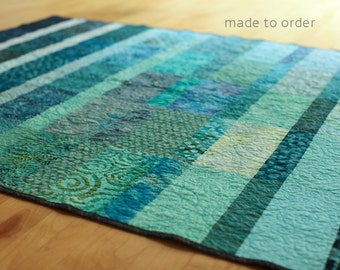Contrast Ocean Modern Quilt Custom Made Fiber Art Quilt Handmade King Queen Double Twin Size Turquoise Ocean Quilt Contemporary Bed Quilts