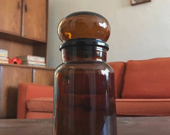 Brown Bubble Glass Apothecary Jar Canister Vanity Made in Belgium