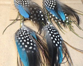 FEATHER EARRINGS, Lovely natural earthy blue + polka dotted black feather earrings,9 inch long chain earrings, natural colored feathers CE5