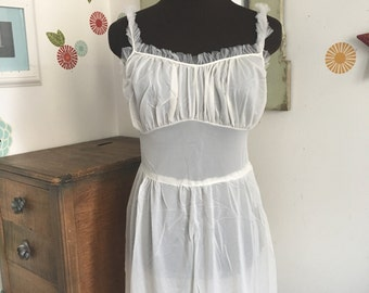 Vintage 1940s Slip, Sheer White Slip with Ruffles, Ruffled Lace Nightgown