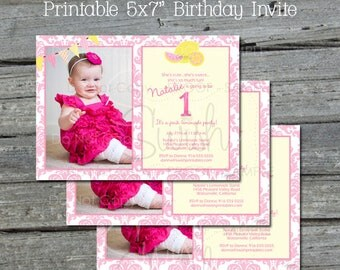 Pink Lemonade Birthday Invitation | First Birthday Invite | Photo Invite | Damask Banner Invite | Printable Lemon Pink 1st Party | 5x7