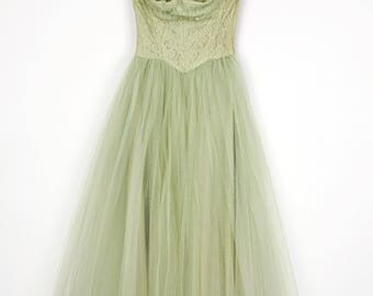 RESERVED_Spring Greens Party Prom Dress Vintage 1950's