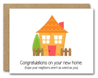 Funny New Home Card, INSTANT DOWNLOAD, New House Card, New Apartment, Housewarming Card, Moving Card, Congrats New Home, Congrats New House
