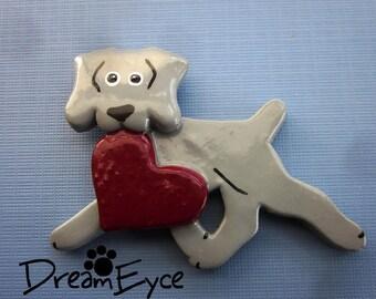 Weimaraner Love Pin Artist Hand-Made OOAK Brooch Dog Art Jewelry E6