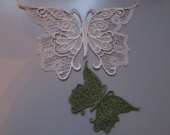 Embroidered Lace Butterfly Applique you choose colour and size