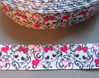 Skull with pink bow 2.2cm Grosgrain Ribbon x 1 metre