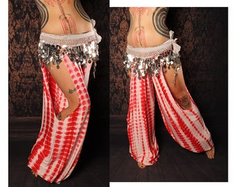 Hippie Harem Pants, white red tie dye, cut out leg. exotic Turkish floorwork, tribal fusion belly dance, sexy Gypsy dance costume, festival