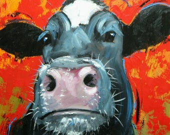 Cow painting 1213 20x20 inch animal original oil painting by Roz