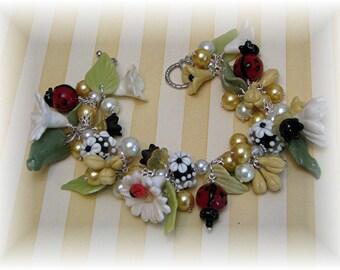 Ladybug Charm Bracelet - Daisy Bracelet - Handmade Charm Bracelet - Cold Porcelain Floral Jewelry