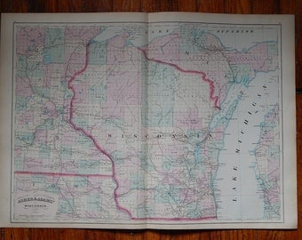 """Antique 1872 24"""" x 17 1/2"""" Map of Wisconsin"""