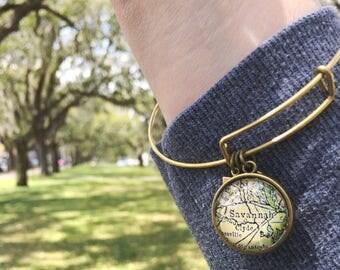 Savannah Map Charm Bracelet - Georgia - Tybee Island - SCAD - Wanderlust - Travel