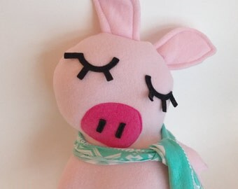 Light Pink pig friend with scarf gift