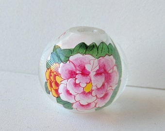Large 30mm diameter Inside Painted, Reverse Painted Chinese Glass Bead with Floral Design