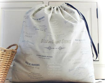 Laundry Bag in French Text Linen Look Fabric Large Drawstring