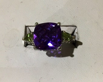 Alexandrite color change silver ring