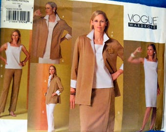 Uncut Vogue Wardrobe 2852 Sewing Pattern  Misses' Jacket, Top, Dress, Skirt, and Pants Uncut Complete Bust 36-40 inches