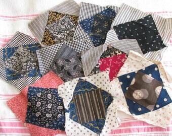 Rural Life...Vintage Calico Patchwork Quilt Blocks...Antique 1800s Fabrics