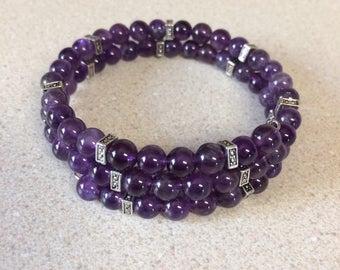 Purple silver bead bracelet - memory wire
