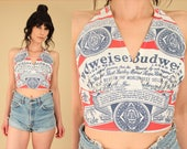 ViNtAgE 70's Budweiser Beer Halter Top // Allover Print OPEN Back Crop Top // This Buds For You All Over Print Hippie Biker Festival M / L