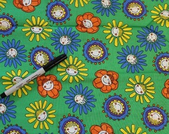 Girls and Boys and Babies on green 100% cotton fabric