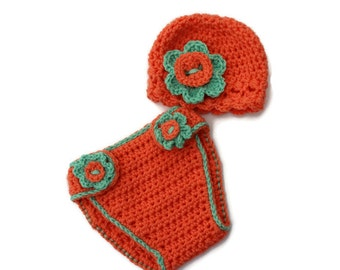 Newborn diaper cover, Baby diaper cover set, crochet baby hat with flower, newborn photo prop, baby photography props, nappy cover, crochet