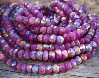 Mystic Ruby Moonstone - Blue Fire Flash faceted stone rondelles - semiprecious stone beads - 4mm X 3mm