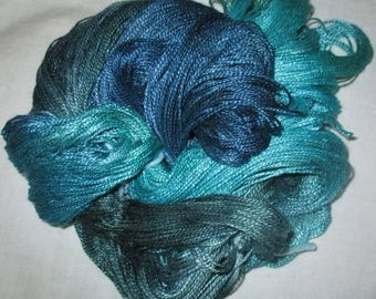 Hand dyed Tencel Yarn - 4/2 Tencel Lace Wt. Yarn  OCEANWAVES - 420 yards