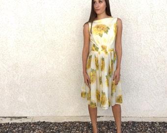 60's chiffon yellow floral dress