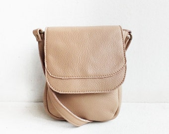 Mini Crossbody Leather Bag in Sand/Beige Crossbody Bag/Small Bag/Messenger bag/Leather Bag/Leather Satchel/Leather purse/Gift for women