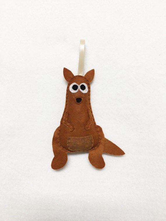 Kangaroo Ornament, Christmas Ornament, Krista the Kangaroo, Felt Animal, Roo