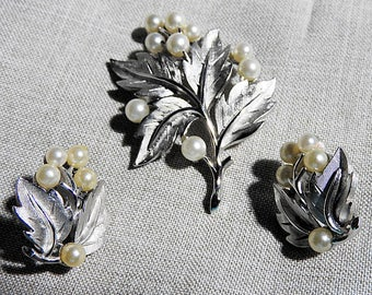 Crown Trifari Brooch and Earring Set, Vintage Demi Parure Jewelry