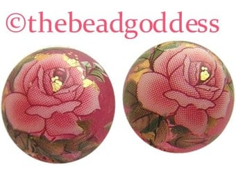 NEW DESIGN Pair Beautiful Japanese TENSHA Beads Pink Rose on Pink Frost 12mm