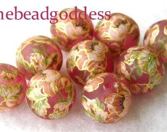 LOVELY Wholesale Tensha Beads Pink Poppies Pink Frost 12mm-9 Pieces