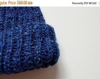 May Sale - 20% off Deep Blue Navigator Beanie - Hand Knit from Handspun Wool Blended with Bamboo & Linen. Ski Beanie, Handmade, Winter Hat