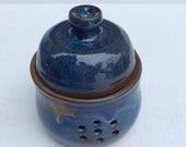 HANDMADE garlic keeper, dark blue, container, ceramic, pottery, storage, decorative, ready to ship/gift /kitchen  B106