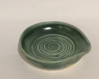 handmade green spoon rest- pottery - stoneware - ceramic, gift, kitchen