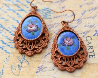 Blue Guilloche Rose Earrings, Bsue by 1928 Guilloche Vintage Style Earrings, Floral Earrings, Blue Earrings, Patina Filigree EarringsSRAJD