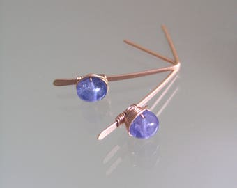 Tanzanite Post Earrings in 14k Rose Gold Fill, Minimalist and Small Linear Periwinkle Gemstone Posts, Lightweight and Modern