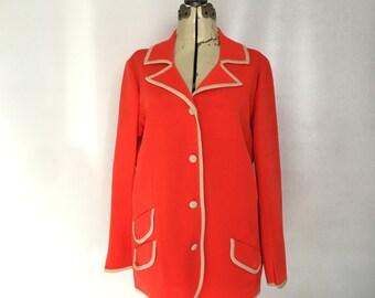 1960s Cardigan Sweater Large Bright Tangerine Orange Tokki Tu Wool Knit  Size 18