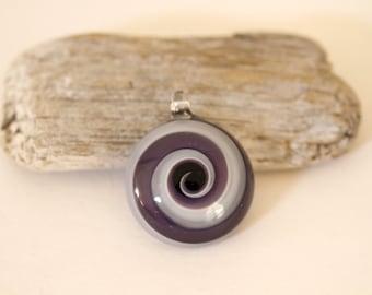 Purple and White Swirl Glass Pendant, Purple Pendant, Glass Pendant, Destash Pendant, Purple and White Pendant, 30MM Glass Pendant