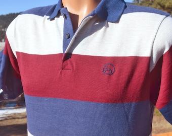 vintage 70s polo golf  shirt JOHN NEWCOMBE tennis mustache logo stripe preppy Medium Small soft