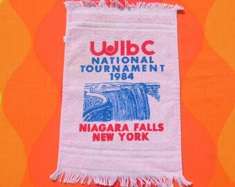 vintage 80s BOWLING towel 1984 wibc tournament niagara falls ny graphic bowler's brand new