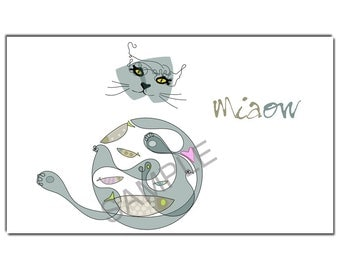 Cat  and fish greetings card, set of six