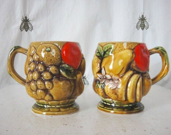Vintage Fruit Harvest Mugs, Inarco Japan, Pair, Colorized Ceramic, Coffee Mugs, Tea For Two