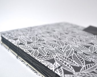 Black & White Leaves Handbound Journal, Large Hard Cover Journal with Reclaimed Leather Closure, Hardcover Blank Book