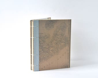 Maritimes Canadiana Map Journal, Kraft Brown Coptic Notebook with Blue & White Edging, East Coast Map Book