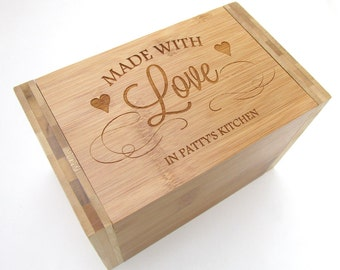 Made With Love Recipe Box - Personalized Bamboo Recipe Box